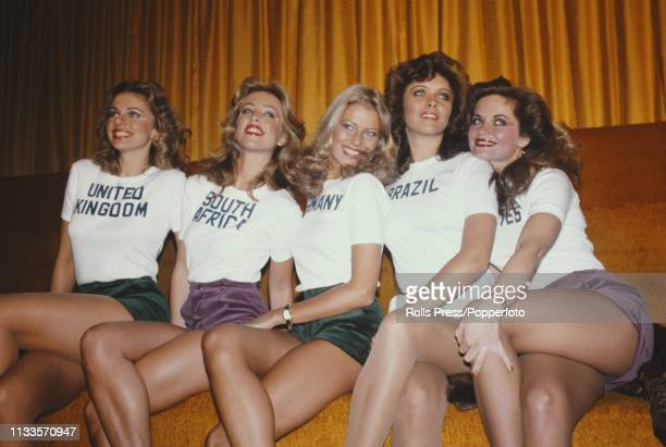 View of some of the contestants who will line up to compete in the 1977 Miss World beauty pageant, from left, Miss United Kingdom Madeleine Stringer,...