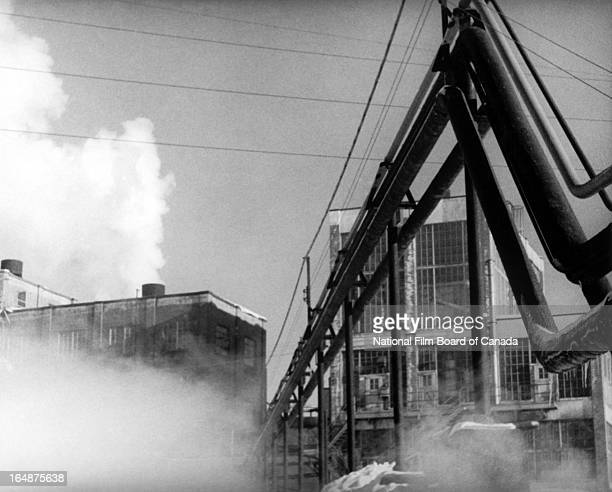 View of some of the factories located in Shawinigan, Quebec, Canada, 1951. Photo taken during the National Film Board of Canada's production of...