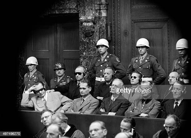 View of some of the nazi leaders accused of war crimes during the world war II during the war crimes trial at Nuremberg International Military...