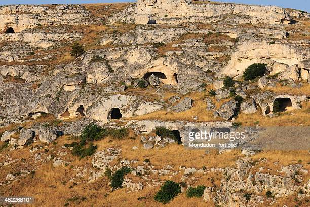 View of some uninhabited caverns of Matera administrative centre of the Regione Basilicata belonging to the complex of the wellknown Sassi inserted...