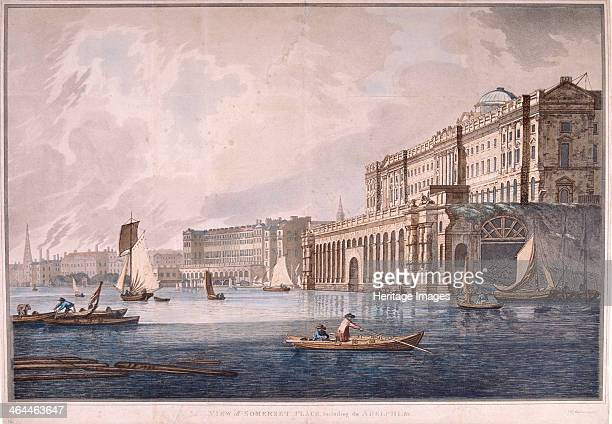 View of Somerset House on the Strand and the Adelphi beyond 1791 with boats and barges on the River Thames below Somerset House was designed by...