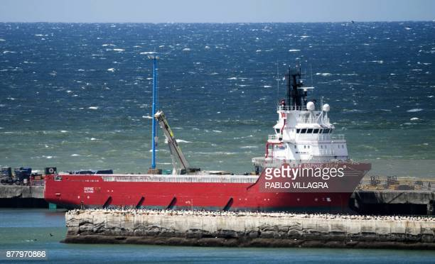 View of Sophie Siem vessel docked at Comodoro Rivadavia harbour in Chubut Argentina on November 23 2017 where the US Navy deep diving rescue vehicle...