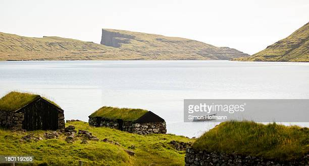 View of Sorvagatsn lake nearby Midvagur on September 7, 2013 at Vagar, Faroe Islands.