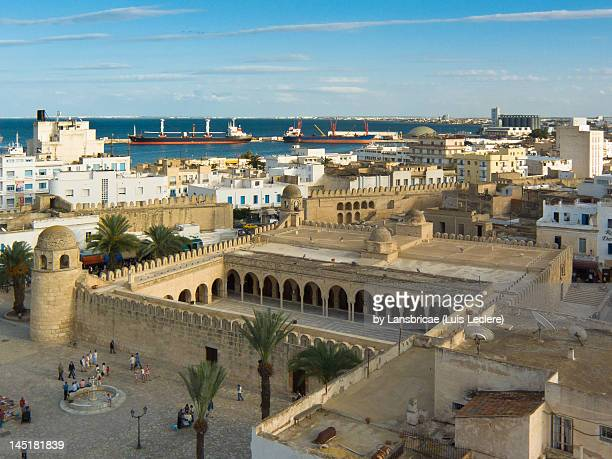 view of sousse ribat medina and port - sousse stock pictures, royalty-free photos & images