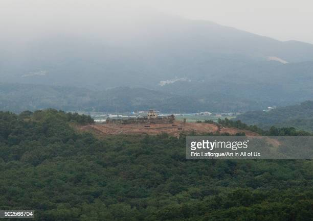 View of south Korea from the wall section of the Demilitarized Zone, North Hwanghae Province, Panmunjom, North Korea on September 11, 2011 in...