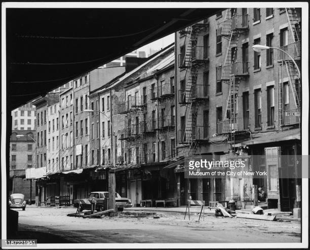 View of South Street between Beekman and Peck Slip, New York, New York, circa 1975.