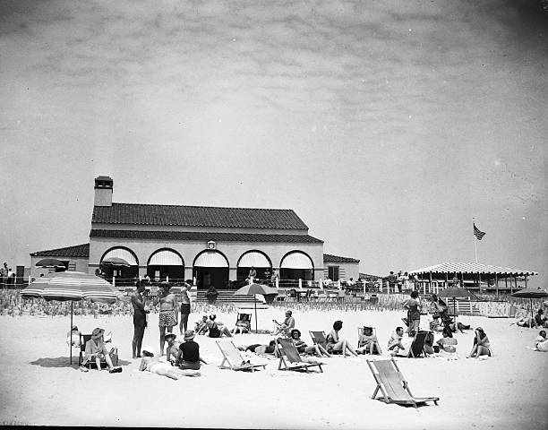 View of Southampton Beach Club with sunbathers, Southampton, New York