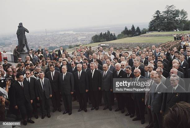 View of Soviet bloc leaders gathered together beside the Slavin war memorial monument and military cemetery in Bratislava Czechoslovakia in August...