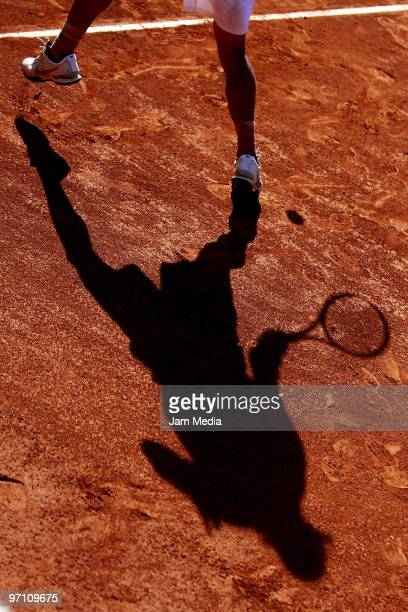 View of Spanish tennis player David Ferrer's shade during his match against Pablo Cuevas during as part of the WTA Acapulco Open at Princess Hotel on...