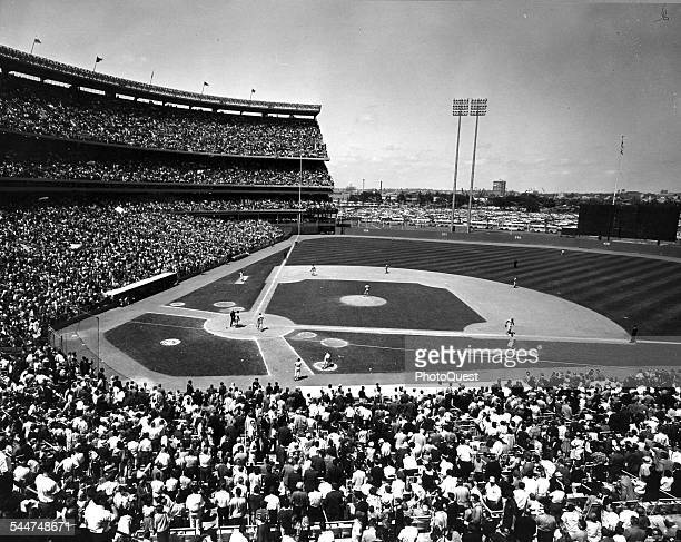 View of spectators at a baseball game in Shea Stadium New York New York 1965