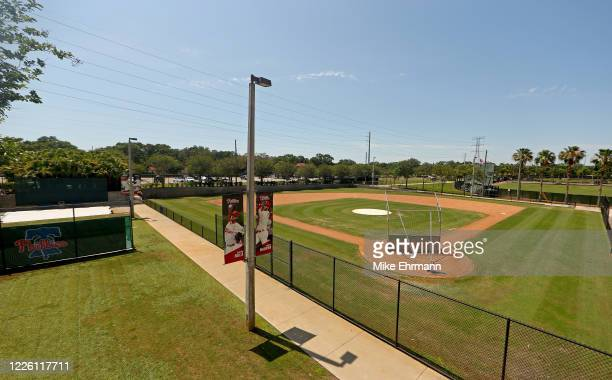 View of Spectrum Field, spring training home of the Philadelphia Phillies on May 20, 2020 in Clearwater, Florida. The Major League Baseball season...
