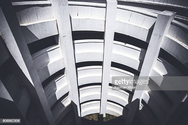 A view of spiral parking lot, abstract view from top.