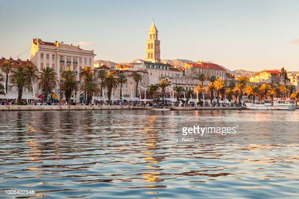 view of split old town from the sea, croatia - croatia stock pictures, royalty-free photos & images