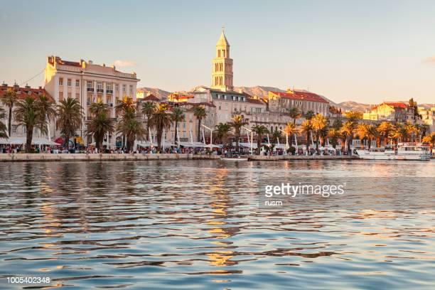 view of split old town from the sea, croatia - croazia foto e immagini stock