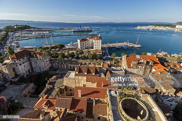 View of Split's old town and harbor from above