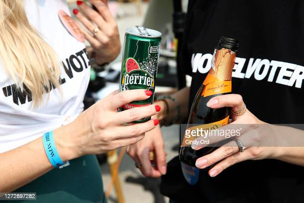 A view of sponsor Perrier during New York Fashion Week The Shows at Spring Studios on September 16 2020 in New York City