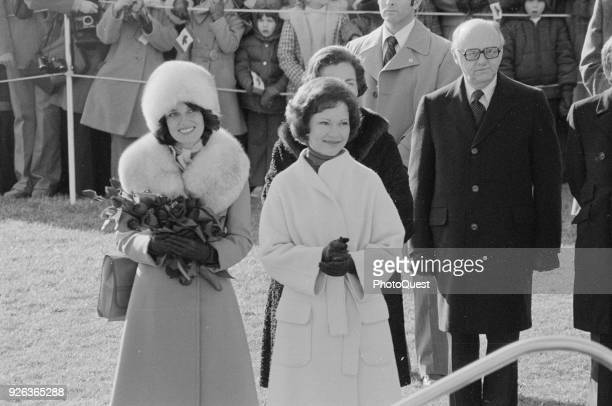 View of Spouse of the Prime Minister of Canada Margaret Trudeau and US First Lady Rosalynn Carter at the White House during the former's State visit...
