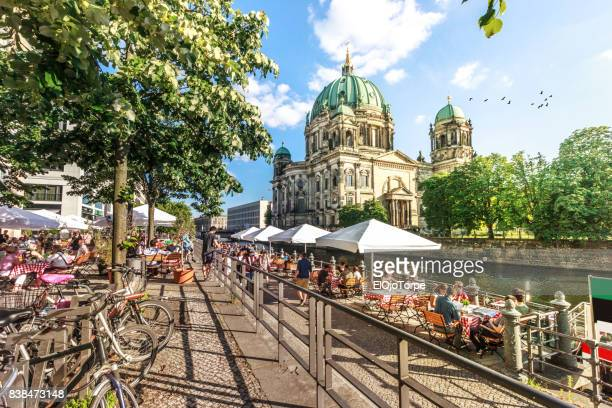 view of spree river and berliner dom, berlin, germany - central berlin stock pictures, royalty-free photos & images