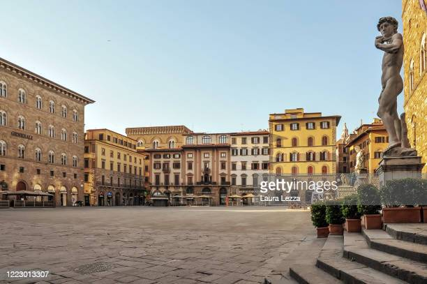 View of square Piazza della Signoria and Palazzo Vecchio in a completely empty city due to the emergency of the Coronavirus on April 09, 2020 in...
