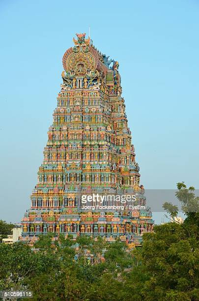 View of Sri Meenakshi Temple against clear blue sky