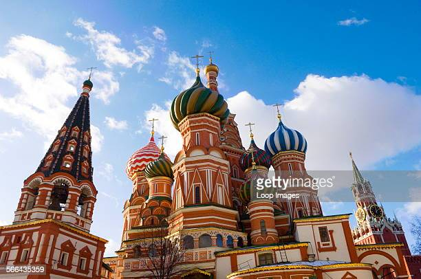 A view of St Basils Cathedral in Red Square in Moscow