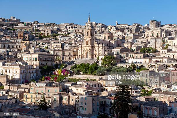 A view of St George Cathedral and the medieval town of Modica a Baroque UNESCO World Heritage listed town in Sicily
