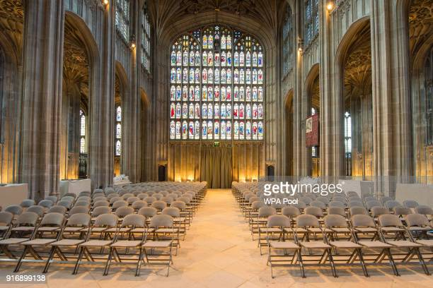 A view of St George's Chapel at Windsor Castle where Prince Harry and Meghan Markle will have their wedding service February 11 2018 in Windsor...