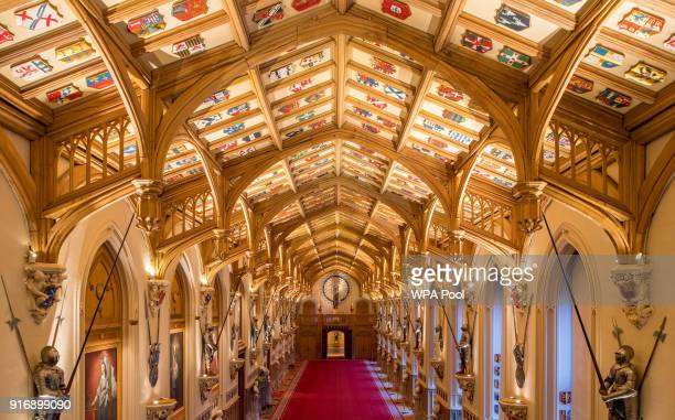 View of St George's Hall, at Windsor Castle, where Prince Harry and Meghan Markle will hold a reception after their wedding, February 11, 2018 in...