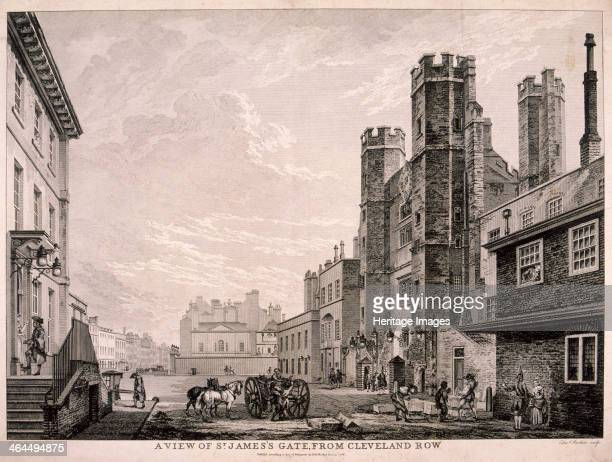 View of St James's Gate leading to St James's Palace from Cleveland Row, London, 1766. In the foreground stone masons can be seen on the right with a...