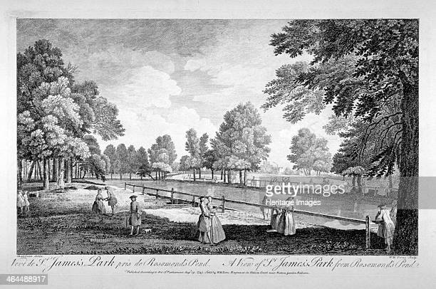 View of St James's Park from Rosamond's Pond Westminster London 1745
