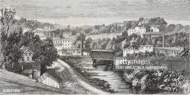View of St Johnsbury Vermont United States of America drawing by Thomas Taylor from a photograph from The White Conquest by William Hepworth Dixon...