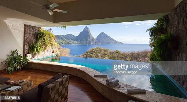view of st. lucian twin pitons from jade mountain - st. lucia stock pictures, royalty-free photos & images