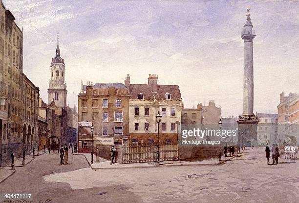 View of St Magnus the Martyr and the Monument from Lower Thames Street London 1888 shows Billingsgate in the foreground