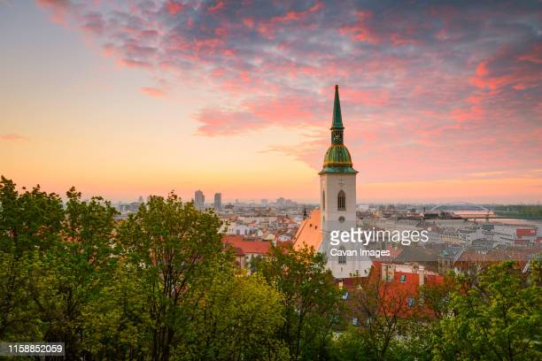 view of st martin cathedral from the castle hill in bratislava. - bratislava stock pictures, royalty-free photos & images
