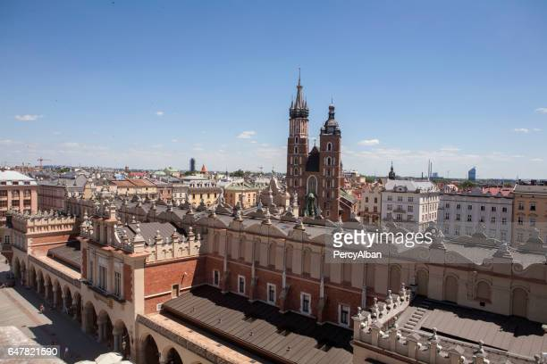 View of St Mary's Basilica and The Cloth Hall, Krakow