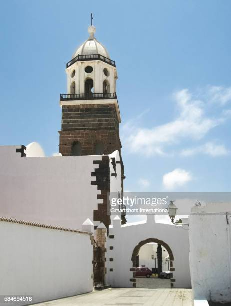 View of St. Michael church and old town gate at Teguise, Lanzarote island, Canary Islands, Spain