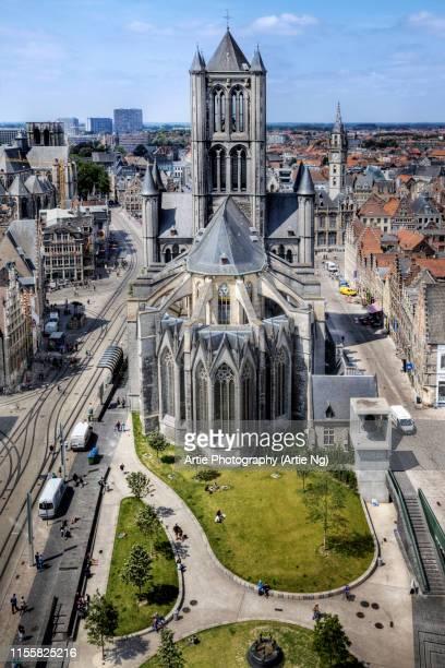 view of st. nicholas' church, ghent, belgium - ベルギー ゲント ストックフォトと画像