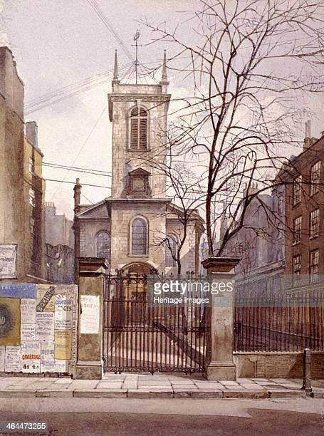 View of St Olave Jewry looking from Ironmonger Lane London 1887 Advertising posters can also be seen on the left wall