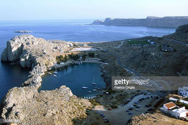 A view of St Paul Bay and the Navarrone Bay on June 25 2012 in Lindos Rhodes Greece Rhodes is an island located in the eastern Aegean Sea...