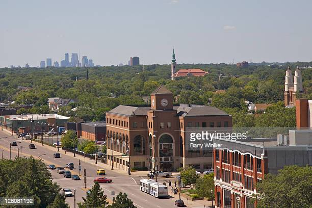view of st. paul with skyscrapers of minneapolis in distance, from top of dome at state capitol, st. paul, minnesota, midwest, usa - minnesota stock pictures, royalty-free photos & images