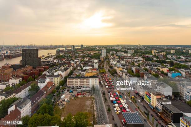 view of st. pauli at dusk, hamburg, germany - reeperbahn stock pictures, royalty-free photos & images