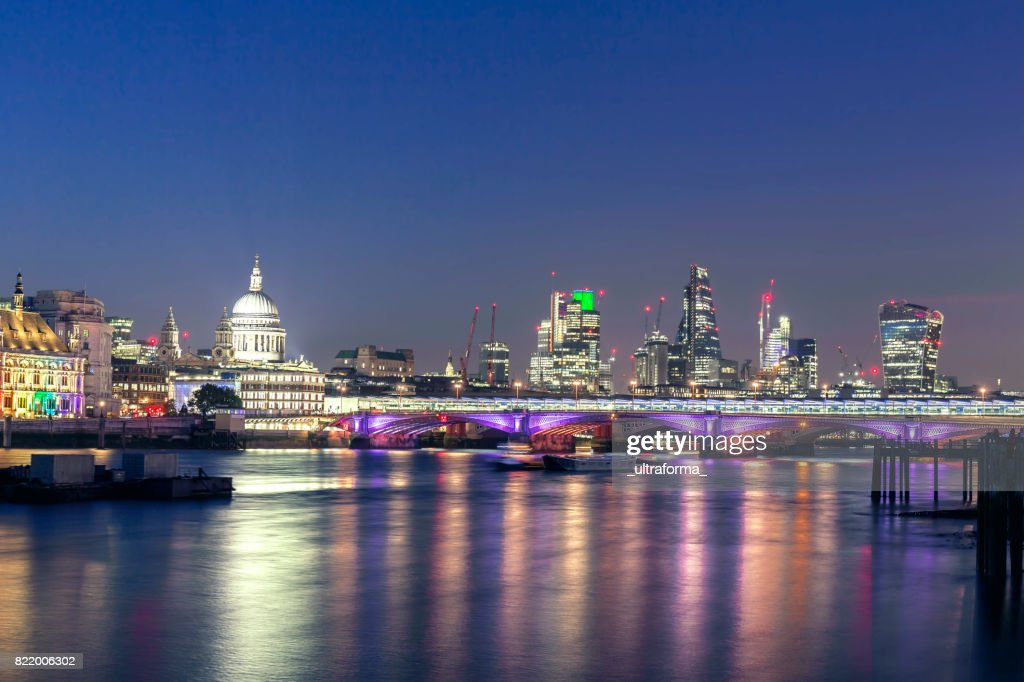 View of St Pauls Cathedral and City of London at night : Stock Photo