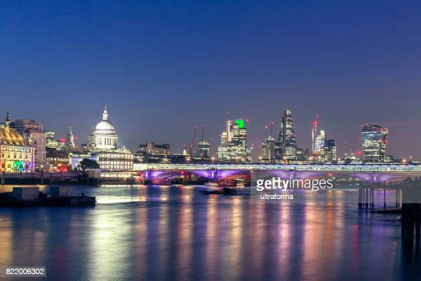 View of St Pauls Cathedral and City of London at night