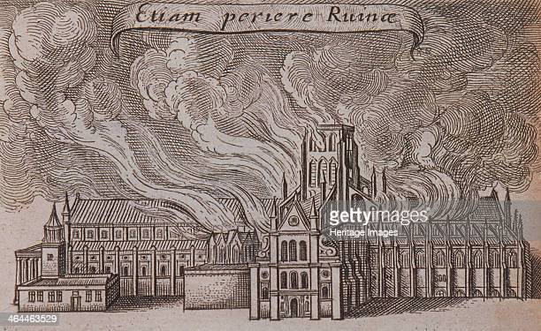 View of St Paul's Cathedral, London, burning in the Great Fire of London, 1666.