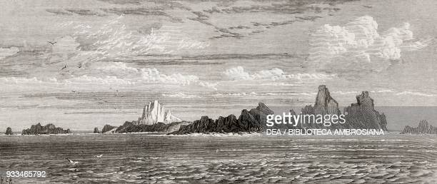View of St Paul's Rocks from the east voyage of HMS Challenger Saint Peter and Saint Paul Archipelago Atlantic Ocean illustration from the magazine...