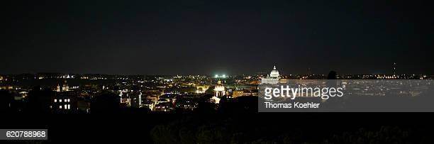 View of St Peter's Basilica at night on October 12 2016 in Rome Italy