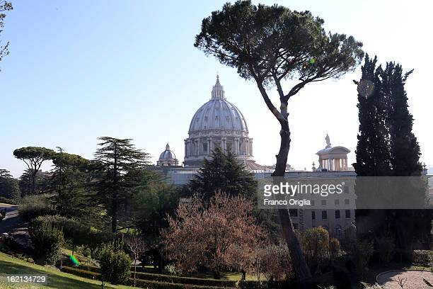 A view of St Peter's Basilica from the Vatican Gardens on February 19 2013 in Vatican City Vatican When Pope Benedict XVI steps down on February 28...