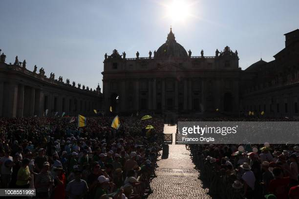 A view of St PeterÕs Square during the Pope Francis' extraordinary audience to the altar servers on July 31 2018 in Vatican City Vatican Over 70000...