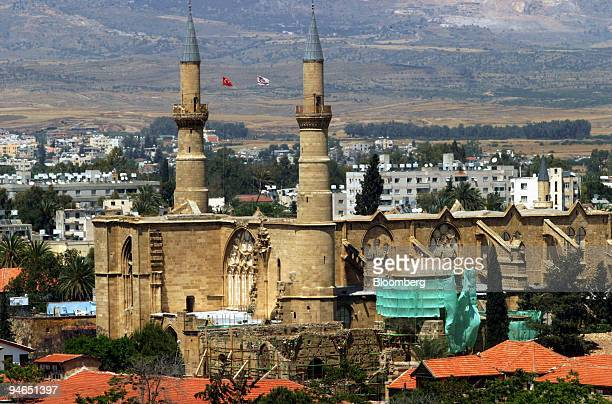 A view of St Sophia Cathedral in Turkish northern Cyprus from Shacolas Tower in downtown Greek Nicosia near the Green Line separating the northern...