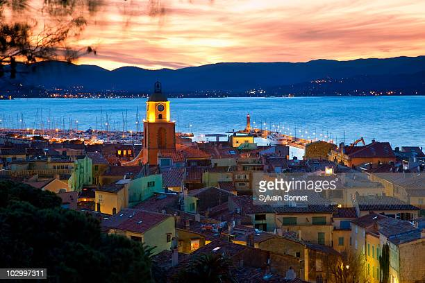 view of st. tropez at dusk - st tropez stock pictures, royalty-free photos & images